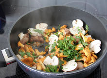 Steaming mushrooms in a pan stock image