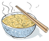 Steaming noodles. Bowl of noodles in loose style Royalty Free Stock Images
