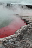 A steaming pink and green geothermal hot pool. In Rotorua, New Zealand Stock Photo