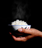 Steaming Rice Stock Photo