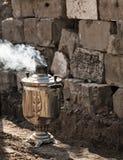Steaming samovar. Royalty Free Stock Image