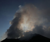 Steaming and smoking volcano Stromboli Stock Image