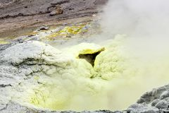 Steaming, sulfuric, active fumaroles near volcano Mutnovsky, Kamchatka Peninsula, Russia