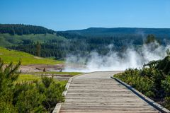 A steaming thermal area in Yellowstone National Park. USA stock photo