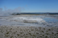 A steaming thermal pool at yellowstone park. Stock Photography
