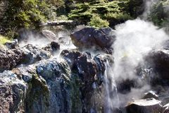 Steaming thermal waters at Hot Springs Cove near Tofino, Canada Royalty Free Stock Photos
