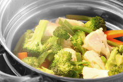 Steaming vegetables Stock Image