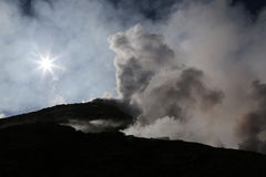Steaming Volcano etna in Sicily in the morning sun Stock Photography