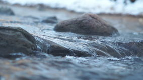 Steaming water of winter river stock footage