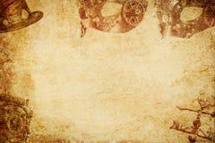 Steampum maski n kapeluszu papieru tło zdjęcia royalty free