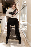Steampunk军事妇女 库存图片
