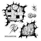 Steampunk剪影孔 库存图片