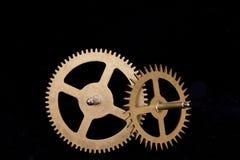 Steampunk在黑背景的时钟嵌齿轮 免版税图库摄影