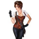 Steampunk妇女佩带的葡萄酒束腰和减速火箭的风镜 免版税库存照片