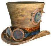 Steampunk帽子和风镜 免版税库存照片