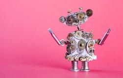 Steampunk服务机器人概念 修理有螺丝司机的人 年迈的齿轮,嵌齿轮轮子手时钟分开机制 破旧 免版税库存图片
