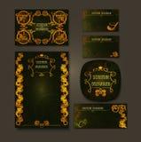 Steampunk样式框架steampunk背景 套事务的葡萄酒卡片 名片设计 库存图片