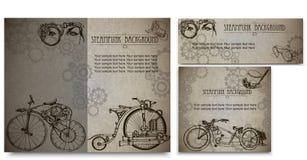 Steampunk样式框架steampunk背景 套事务的葡萄酒卡片 名片设计 免版税库存照片