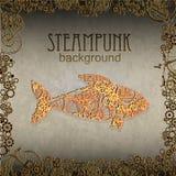 Steampunk样式 模板卡片的steampunk设计 大鱼 免版税库存照片
