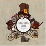 Steampunk样式 模板卡片的steampunk设计 框架steampunk背景 库存照片