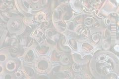 Steampunk背景、机器和机械部分、大齿轮和链子从机器和拖拉机 库存图片