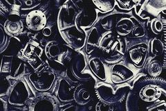 Steampunk背景、机器和机械部分、大齿轮和链子从机器和拖拉机 免版税库存图片