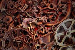 Steampunk背景、机器和机械部分、大齿轮和链子从机器和拖拉机 免版税库存照片