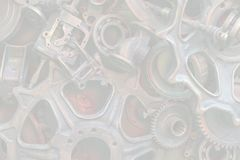 Steampunk背景、机器零件、大齿轮和链子从机器和拖拉机 图库摄影
