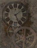 Steampunk背景,时钟,齿轮,技术 图库摄影