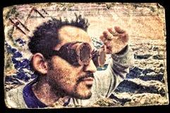 Steampunk飞行员Selfie 免版税库存图片
