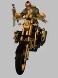 Steampunk骑自行车的人 免版税库存照片