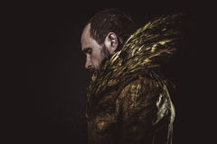 Steampunk, γενειάδα ατόμων και κοστούμι που γίνονται με τα χρυσά φτερά Στοκ φωτογραφίες με δικαίωμα ελεύθερης χρήσης
