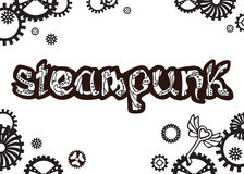 Steampunk Μοναδική συρμένη χέρι λέξη εγγραφής στο ύφος steampunk, Στοκ εικόνα με δικαίωμα ελεύθερης χρήσης