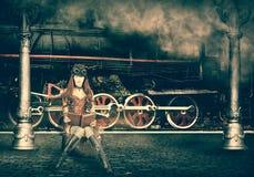Steampunk и стиль ретро-futurism хайвей hitchhiking женщина Стоковые Изображения