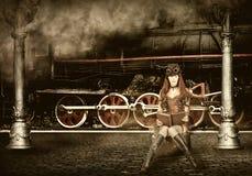 Steampunk и стиль ретро-futurism хайвей hitchhiking женщина Стоковые Фотографии RF