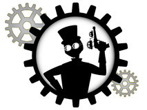 steampunk силуэта человека владениями пушки шестерни внутреннее Стоковые Изображения