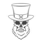 Steampunk头有胡子的猎人头骨 免版税库存图片