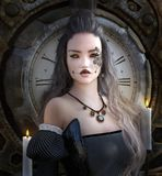 Готическая девушка steampunk со страшной стороной иллюстрация вектора