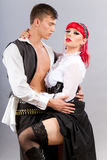 Steampunk. Couple posing in steampunk outfits Stock Photography