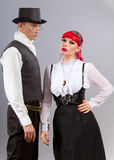 Steampunk. Couple posing in steampunk outfits Royalty Free Stock Images