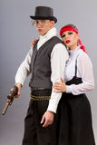 Steampunk. Couple posing in steampunk outfits Royalty Free Stock Photography