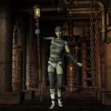 有灯笼的Steampunk女孩 库存图片