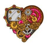 Steampunk金属心脏拼贴画在乱画适应 库存图片