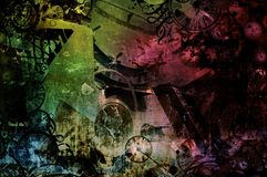 Steampunk abstract colorful industrial machines background Stock Photo
