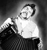 Steampunk accordion player Stock Image