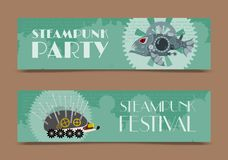 Steampunk animal set of banners vector illustrations for party or festival. Fantastic metal fish and hedgehog in style. Of engraving with decorative frame of vector illustration