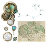 Steampunk astrology/compass devices selection Stock Photos