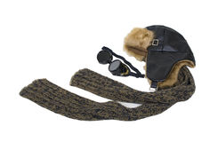 Steampunk Aviator Kit. Including goggles worn to protect the eyes, and an aviator hat and scarf - path included Stock Photography