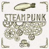 Steampunk background, gear, vintage car and airship Royalty Free Stock Photography