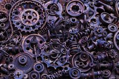 Steampunk background, machine parts, large gears and chains from machines and tractors. stock image